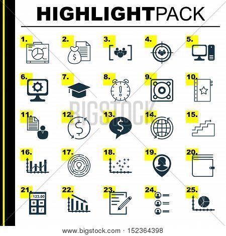 Set Of 25 Universal Editable Icons For Computer Hardware, Marketing And Project Management Topics. I