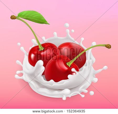 Cherry and milk splash. Fruit and yogurt. Realistic illustration. 3d vector icon