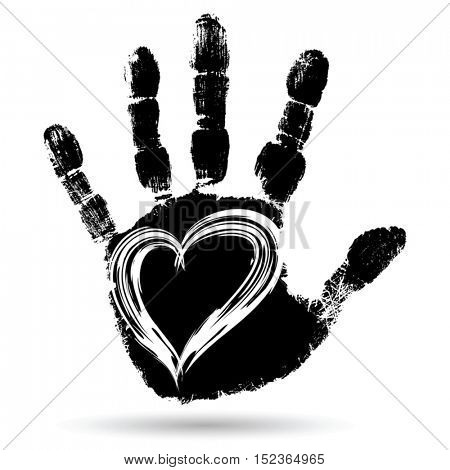 Vector concept conceptual cute paint human hand or handprint of child with heart shape isolated on white background for art, childhood, fun, happy, infant, symbol, kid, education, little, young love