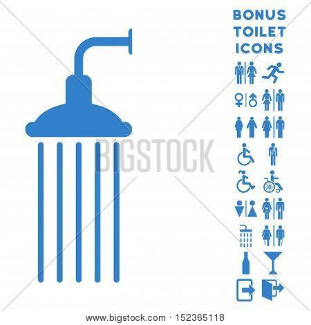 Shower icon and bonus gentleman and female lavatory symbols. Vector illustration style is flat iconic symbols, cobalt color, white background.