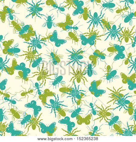 Seamless pattern for pillow with turqiouse and green insects silhouettes. Vector illustration