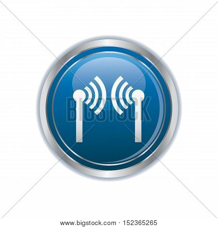 Wireless icon on the the button. Vector illustration