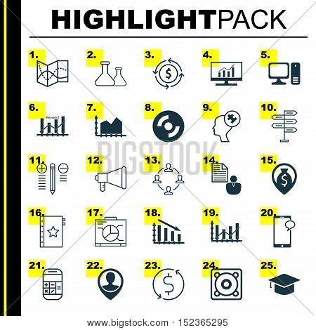 Set Of 25 Universal Editable Icons For Computer Hardware, Statistics And Airport Topics. Includes Ic