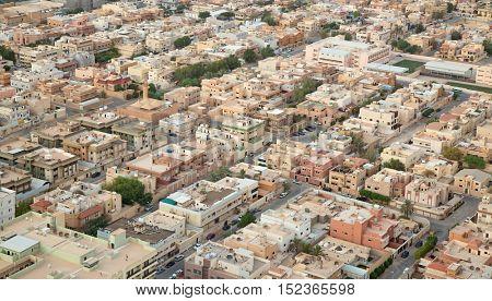 RIYADH - AUGUST 21: Aerial view of Riyadh downtown on August 21, 2016 in Riyadh, Saudi Arabia.