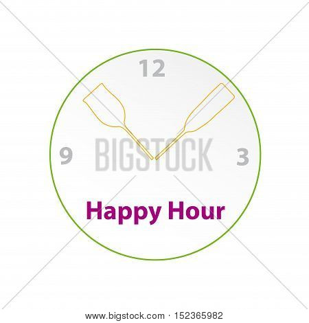 Vector sign Happy hour restaurant illustration isolated in white