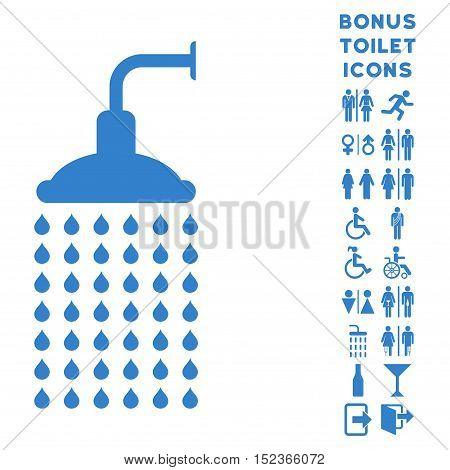 Shower icon and bonus male and female toilet symbols. Vector illustration style is flat iconic symbols, cobalt color, white background.