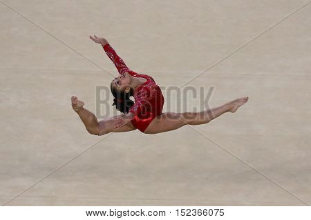 RIO DE JANEIRO, BRAZIL - AUGUST 4, 2016:Olympic champion Laurie Hernandez of United States during an artistic gymnastics floor exercise training session for Rio 2016 Olympics at the Rio Olympic Arena