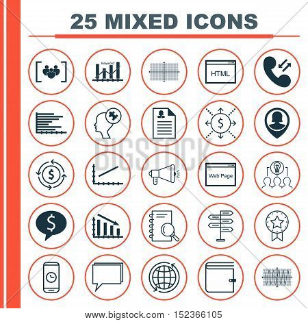 Set Of 25 Universal Editable Icons For Project Management, Statistics And Seo Topics. Includes Icons