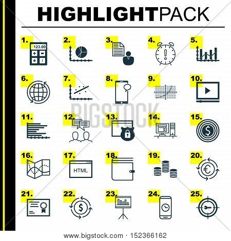 Set Of 25 Universal Editable Icons For Statistics, Human Resources And Project Management Topics. In