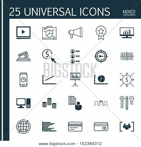 Set Of 25 Universal Editable Icons For Seo, Statistics And Computer Hardware Topics. Includes Icons