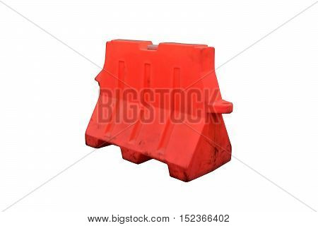 Plastic barrier blocking the road isolated on white background with clipping path.