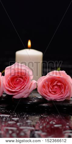 Still life with two pink rose with candle and therapy stones