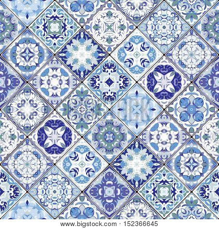 Vector set of mosaic blue and white square patterns. Classic ornaments in Oriental style. Vector illustration.