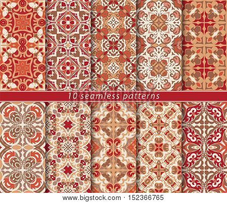 Set of bright seamless patterns. A collection of ten ornaments of red and orange in an ethnic style. Vector illustration.