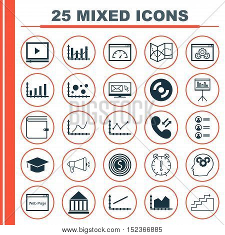 Set Of 25 Universal Editable Icons For Computer Hardware, Education And Airport Topics. Includes Ico