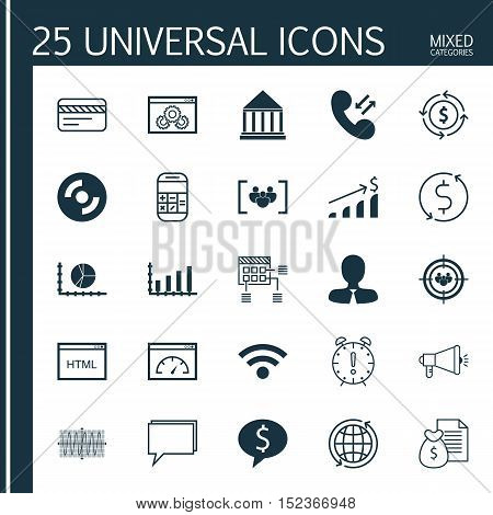 Set Of 25 Universal Editable Icons For Computer Hardware, Project Management And Advertising Topics.
