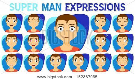 Set of man expressions collection. Emotion and avatar. Variety of emotions - joy sadness hurt shock joy inspiration. vector illustration