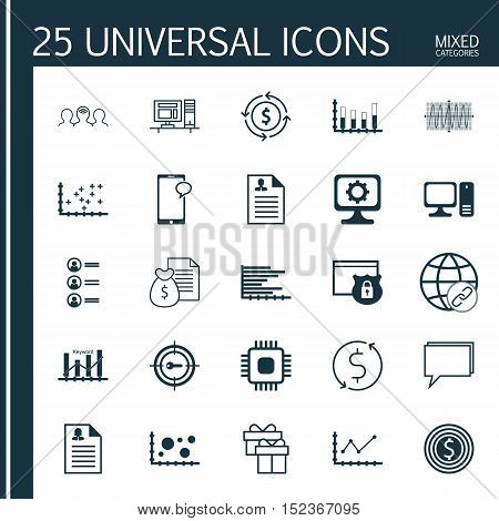 Set Of 25 Universal Editable Icons For Project Management, Statistics And Travel Topics. Includes Ic