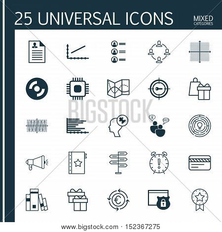 Set Of 25 Universal Editable Icons For Computer Hardware, Human Resources And Business Management To