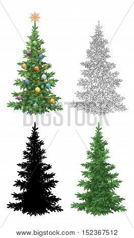 Set of Christmas Trees, with Holiday Decorations, Star, Snowflakes, Balls and Garland, Green Naturalistic and Black Contours and Silhouettes Isolated On White. Eps10, Contains Transparencies. Vector