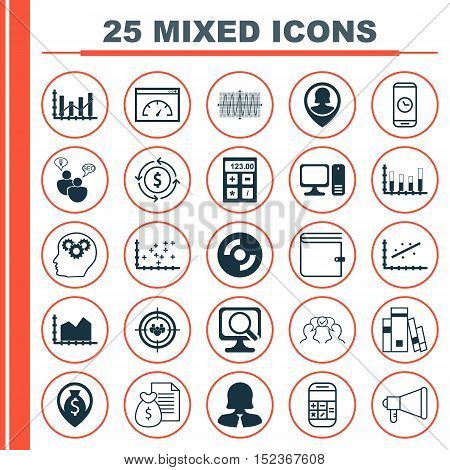 Set Of 25 Universal Editable Icons For Computer Hardware, Project Management And Human Resources Top