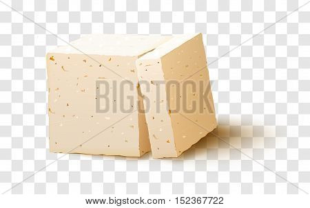 Piece of tofu on transparent background. Tofu cheese. vector stock