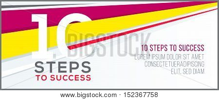 Ten steps to success. Banner for web business concept. template for your design.