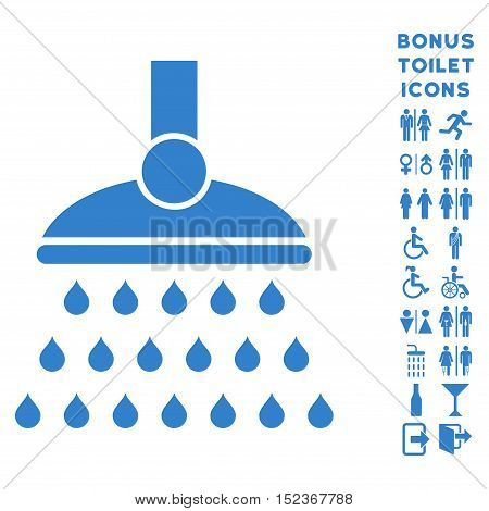 Shower icon and bonus man and woman restroom symbols. Vector illustration style is flat iconic symbols, cobalt color, white background.