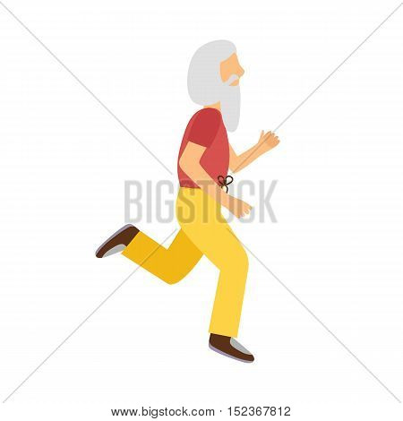 Vector Cartoon Active Running Old Man