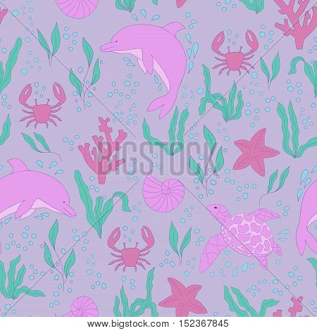 Vector seamless pattern. Hand-drawn doodle set of sea life