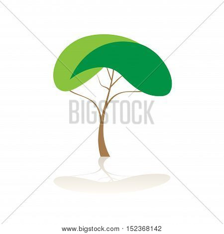 Vector sign abstract tree illustration isolated in white