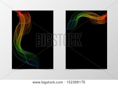 Flyer template wave design. Abstract flyer template in orange blue red green colors on black background. Spectrum transparent flyer design. Vector illustration