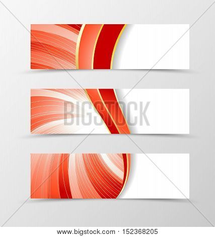 Set of banner vortex design. Light banner for header in red color with silver lines. Design of banner in wavy spectrum style. Vector illustration