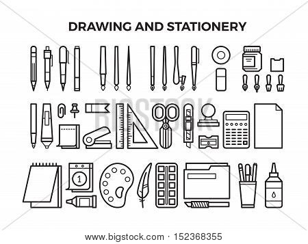 Office stationery and drawing tools line icons. Pencil and pen, marker and paintbrush. Vector illustration