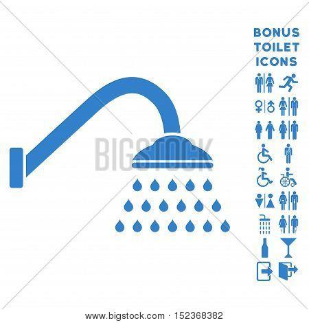 Shower icon and bonus male and female lavatory symbols. Vector illustration style is flat iconic symbols, cobalt color, white background.