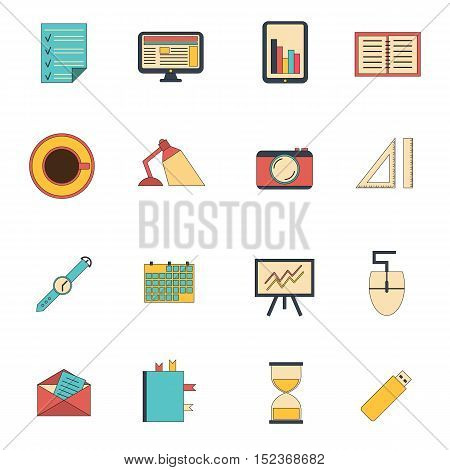 Vector illustration with flat freelance workflow icons. Photographer designer programmer icons. Flat freelance job objects. Vector illustration with workflow concept. Office or home job