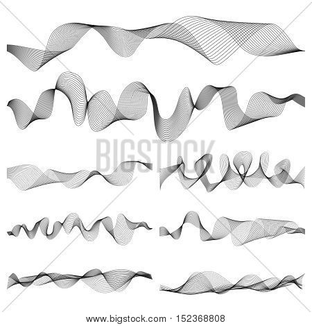 Abstract music sound waves pulse vector set. Digital frequency track equalizer illustration