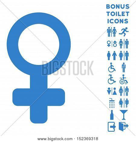 Venus Symbol icon and bonus gentleman and woman WC symbols. Vector illustration style is flat iconic symbols, cobalt color, white background.