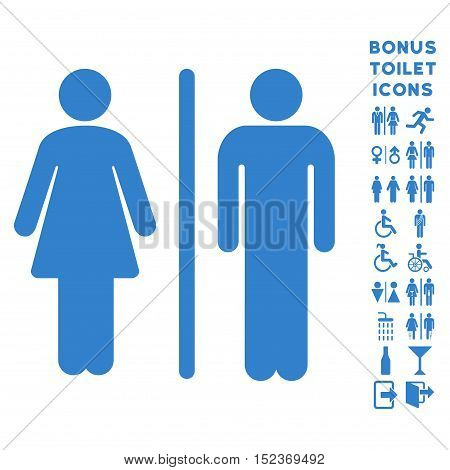 WC Persons icon and bonus gentleman and lady lavatory symbols. Vector illustration style is flat iconic symbols, cobalt color, white background.