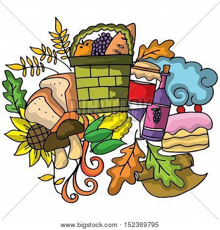 Thanksgiving vector doodle art design illustration collection