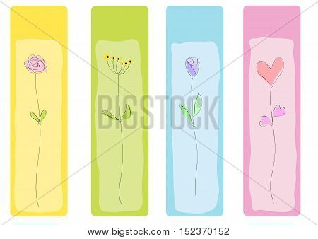 Vector drawing abstract floral bookmark illustration isolated in white