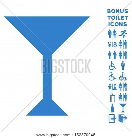 Wine Glass icon and bonus male and lady WC symbols. Vector illustration style is flat iconic symbols, cobalt color, white background.