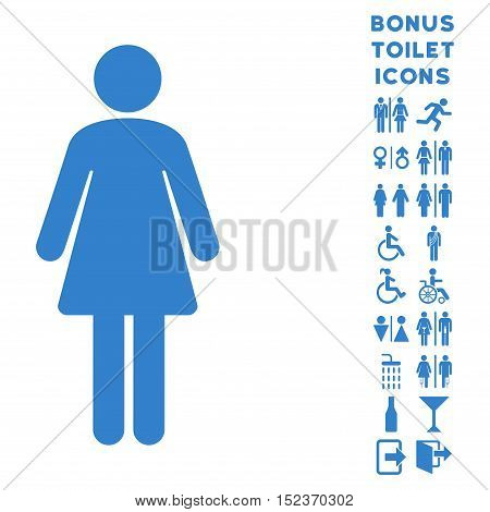 Woman icon and bonus gentleman and lady restroom symbols. Vector illustration style is flat iconic symbols, cobalt color, white background.