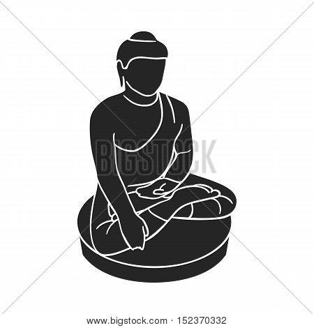 Sitting Buddha icon in  black style isolated on white background. South Korea symbol vector illustration.