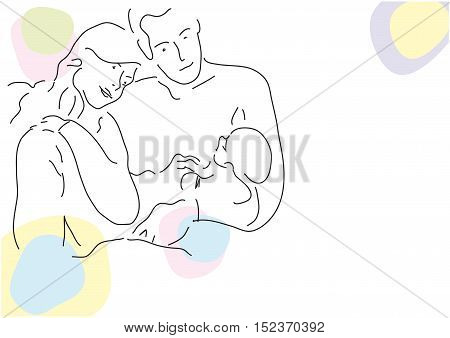Vector drawing abstract family group illustration isolated in white