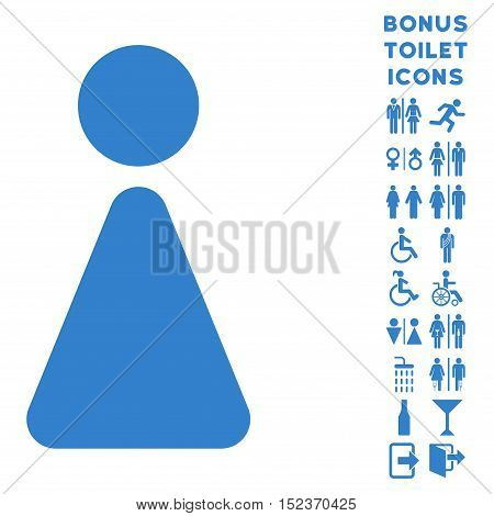 Woman icon and bonus man and female WC symbols. Vector illustration style is flat iconic symbols, cobalt color, white background.