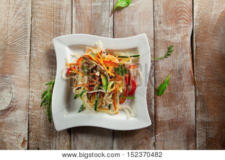 Salad with Rice Noodles, Fried Veal and Vegetables