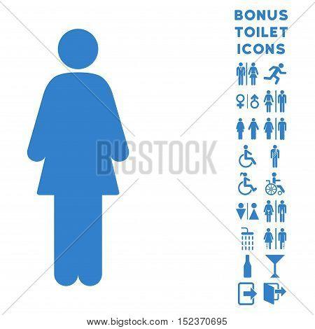 Woman icon and bonus gentleman and lady lavatory symbols. Vector illustration style is flat iconic symbols, cobalt color, white background.