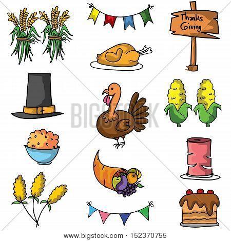 Thanksgiving element set of doodle vector art
