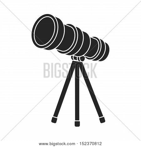 Telescope icon in  black style isolated on white background. Space symbol vector illustration.